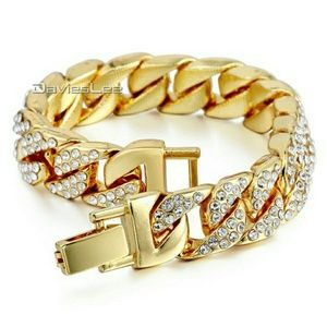 Other - 🔥18k Gold plated cuban link bracelet w/ diamonds